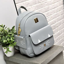 Teen School Bags Cat Whiskers Pattern Teenagers Leather Backpacks Appliques Soft