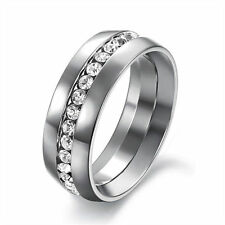 Men/Women CZ Couple Stainless Steel Wedding Ring Titanium Engagement Band Sz7-11