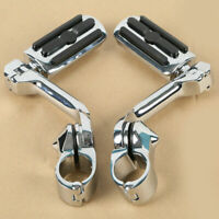 """1 1/4"""" 1.25"""" Long Angled Adjustable Highway Foot Pegs Peg Mount Kit For Harley"""