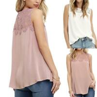 Womens Summer Vest Top Sleeveless T-Shirt Lace Casual Blouse Tank Tops W