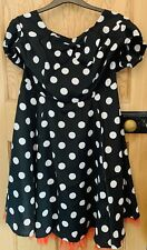 SIZE 24 Chiffon Black Polka Dot 50's Cap Sleeve Rockabilly Party Dress