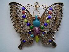 Wunderschöne große bunt emaillierte Silber Schmetterling Brosche