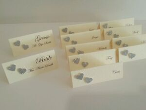 Wedding table place name cards / settings with glitter or pearl hearts x10