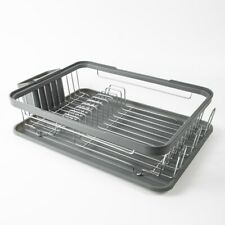 Grey or Black Kitchen Dish Drainer Rack with Plastic Drip Tray Cutlery Holder
