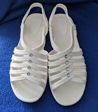 New Ladies Jeweled White Peep Toe Wedge Heel Jelly Sandals Summer Beach Shoes