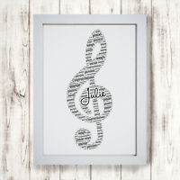 Personalised Treble Clef Musical Note Picture Print Frame Music Lovers Gift