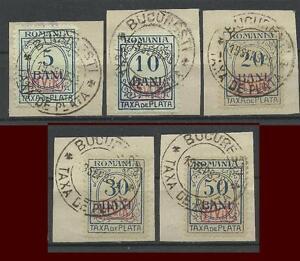 Dt. Bes. Rumaenien 1 - 5 P, Portomarken auf Briefstueck gestempelt #d560
