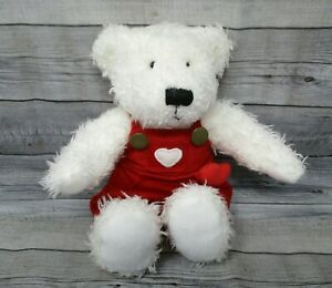 """Plush Teddy Bear White Jointed Arms Red Heart Overalls Love Valentine's Day 9"""""""