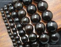 Natural Black Ebony Wood Round Ball Loose Beads 6mm 8mm 12mm 15mm 18mm 20mm Pick