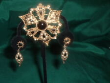 VTG   VICTORIAN BLACK ONYX   & SEED PEARLS BROOCH W/ MATCHING EAR RINGS