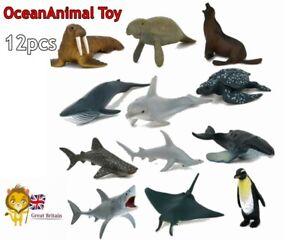 12pcs Children Toys Plastic Sea Ocean Creatures Dolphin Animals Model Figures