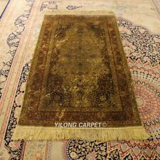 YILONG 3'x5' Antique Hand-knotted Silk Carpet Top Quality Area Rug YL22A