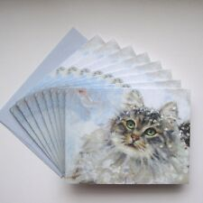 Maine Coon Cat Christmas Cards 16 CARDS & Envs ~ Sweet Kitty in Snow Looking Up
