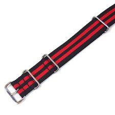 Nato Nylon Bracciale/Strap Nero-Rosso Nastro impulso 24 mm