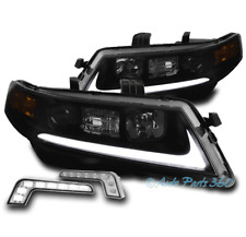FOR 04-08 ACURA TSX CL9 LED PROJECTOR BLACK/SMOKE HEADLIGHT HEADLAMP +BUMPER DRL