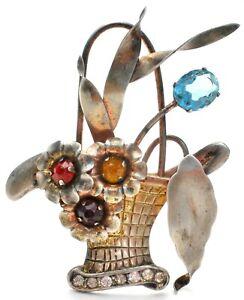 Sterling Silver Basket of Flowers Brooch Vintage Pin Multi Color Crystals W