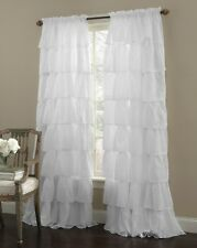 2 Piece Gypsy Ruffled Shabby Chic Crushed Voile Sheer Window Curtain Panel Drape