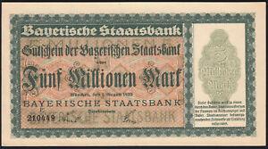 1923 5 Million Mark German States Bavaria Munich Old Emergency Banknote aUNC