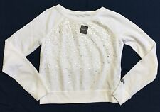 Abercrombie Kids White Cropped Sweatshirt With Sequin Detail On Front Sz M NWT!!