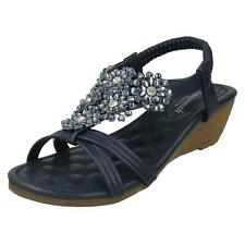 Ladies Savannah Mid Wedge Strappy sandals Navy blue size 6. New in box