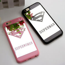 Superman Superwoman Mirror Surface Soft Case Cover For iPhone 5/6/7 Plus Make up