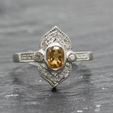 Genuine .60ctw Citrine & Diamond 925 Sterling Silver Filigree Ring Size 6.25