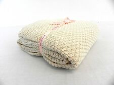 LARGE CREAM KNITTED THROW OVER BEDSPREAD SNUGGLY BLANKET 180X200CMS APP