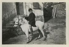 PHOTO ANCIENNE - VINTAGE SNAPSHOT - CHEVAL PONEY SHETLAND ENFANT - HORSE PONY