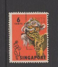 SINGAPORE 1968 6c BLACK, LEMON & ORANGE Nice Used