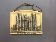 The West Front Wells Cathedral 4½x3¼ Arthur Osborne Ivorex Wall Plaque