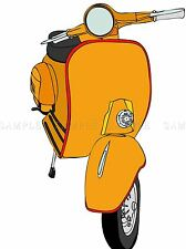 MOTORCYCLE SCOOTER TRANSPORT ILLUSTRATION ORANGE PRINT POSTER PICTURE BMP1637A