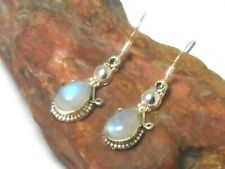 Fiery Teardrop MOONSTONE Sterling  Silver  925  Gemstone  Earrings