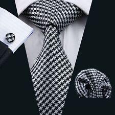 New Dogstooth Design Silk Tie Matching Pocket Square & Cufflink Set