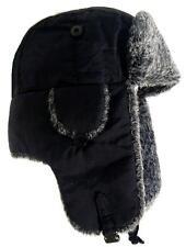 WINTER RUSSIAN TRAPPER HAT mens XL warm black & grey fur cossack Soviet ushanka