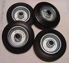 4-mal Einzelrad Ersatzrad Gummi 125 mm Rollenlager Rad Rolle Vollgummi