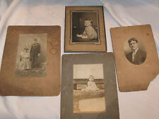 VINTAGE LOT OF 4 PHOTOS CARDBOARD ON BACK BABY RAILROAD? MILITARY? DOUGHBOY?