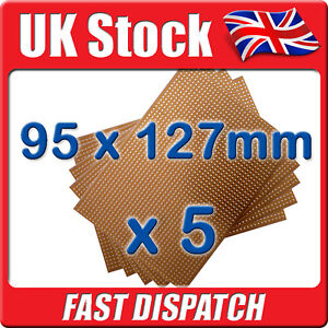 5 x New PCB Stripboard Vero Style Strip Board 95 x127mm
