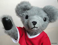 "Artist Teddy Bear Grey Plush 13"" Black Leatherette Pads Red Sports Shirt Jointed"