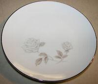 "Noritake Rosay 6216 Bread & Butter Plate 6 3/8"" White Rose Platinum Trim"