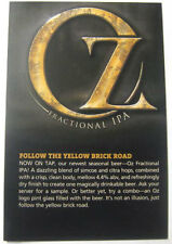 OZ FRACTIONAL IPA 4X6 inch Beer COASTER, Mat Card, DuClaw, Maryland APRIL 2013