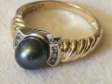 Gorgeous Black Pearl and Diamond 14K Yellow Gold Ring
