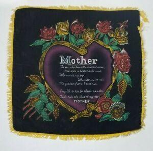 Mother Pillow Cover Gold Fringe Black Velvet Roses Heart VTG Sparkly Mom Poem