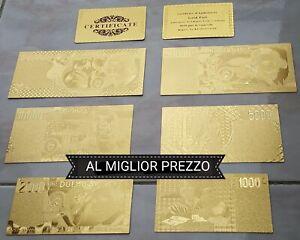LOTTO DI BANCONOTE DELLA VECCHIA LIRA ITALIANA IN FOGLIA COLOR ORO 24KT GOLD