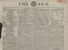 "RARE ORIGINAL NEWSPAPER ""THE SUN"" (28 October 1800) US & FRANCE PEACE TREATY"