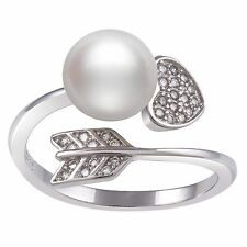 Rhodium-Plated Sterling Silver Heart | Arrow Freshwater Pearl & CZ Ring