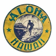 "Vintage Design Aloha Hawaii Surfing (Reproduction) 12"" Circle Aluminum Sign"