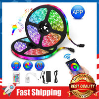 32.8ft Strip Lights 300 LEDs RGB Color Changing Bluetooth Controller Music Sync