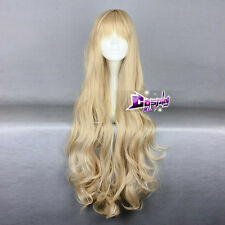 Long Blonde 90CM Curly Lolita Fashion Lady Cosplay Wig with Bangs + Wig Cap