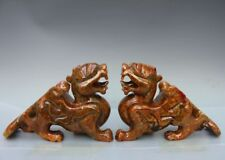 "7"" China Stone Jade Foo Dog Lion Kylin Unicorn Fengshui Animal Statue Sculpture"