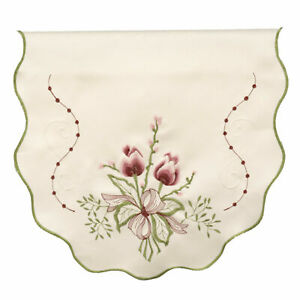 Embroidered Tulip Flower Single Chair Back Scalloped Edge Antimacassar Cover
